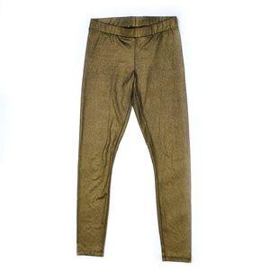 bebe Pants - BEBE Antique Gold Metallic Shimmer Leggings Medium